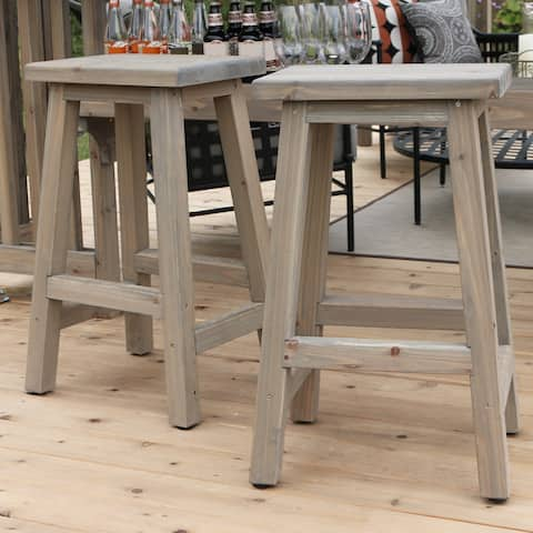 29 in. Saddle Wood Outdoor Bar Stool (2-Pack)