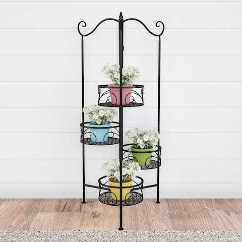 Pure Garden 4-Tier Folding Black Wrought Iron Plant Stand with Staggered Laser Cut Shelves