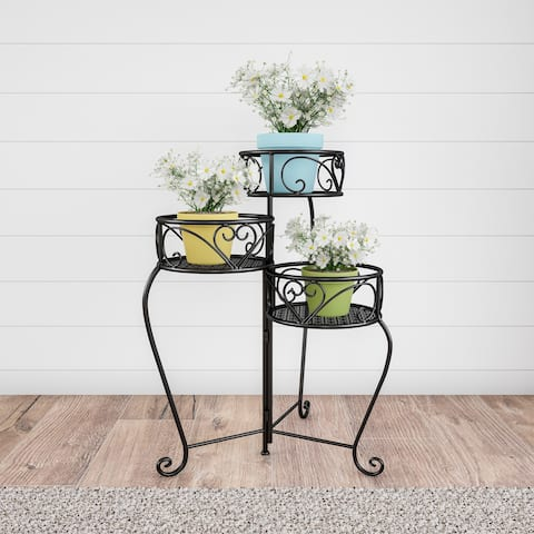 Pure Garden 3-tier Wrought Iron Plant Stand with Laser Cut Shelves