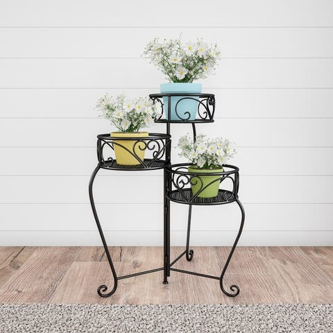 Plant Stand- 3-Tier Folding Wrought Iron Inspired Metal Home and Garden Display with Laser Cut Shelves by Pure Garden
