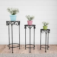 Plant Stands- Set of 3 Nesting Wrought Iron Metal Round Decorative Potted Plant Accent Display by Pure Garden - Set of 3