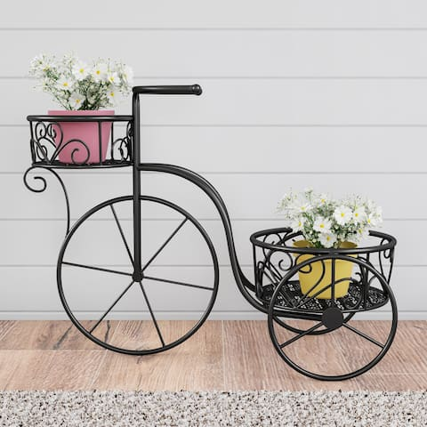 Pure Garden 2-Tiered Vintage-Look Metal Tricycle Plant Stand
