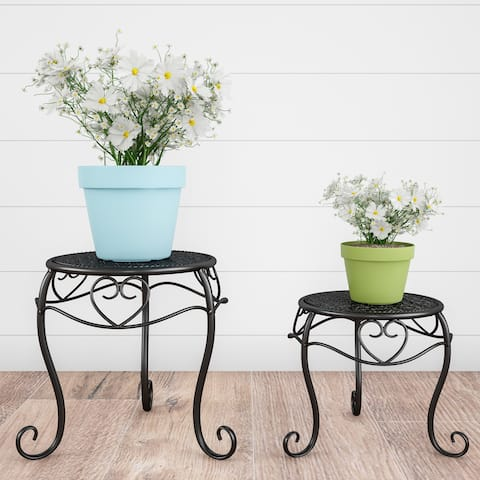 Plant Stands- Set of 2 Nesting Wrought Iron Inspired Metal Round Decorative Potted Plant Display by Pure Garden - Set of 2