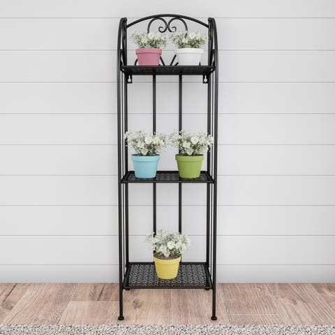 Pure Garden 3-Tier Vertical Folding Wrought Iron Plant Stand with Staggered Shelves