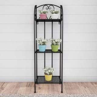 Plant Stand- 3-Tier Vertical Shelf Folding Wrought Iron Metal Home and Garden Display with Staggered Shelves by Pure Garden