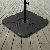 Pure Garden 220-Pound Capacity, 4-Piece Fillable Weighted Cantilever and Offset Umbrella Base with Handle