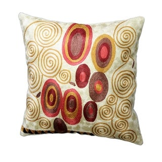 Klimt Accent Pillow Cover, Ivory Swirls, Silk, Hand Embroidered