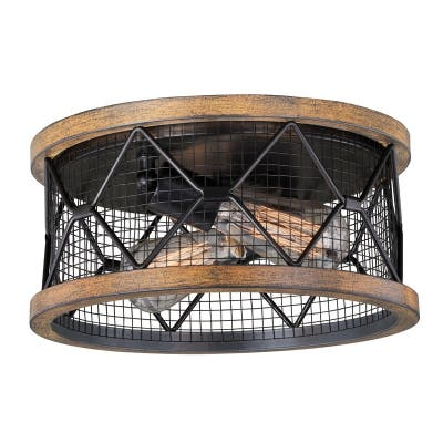 Bremerton 13-in W Bronze Wire Cage Industrial Flush Mount Ceiling Light with Edison Bulbs - 13-in W x 6.25-in H x 13-in D
