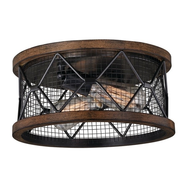 Bremerton 13-in W Bronze Wire Cage Industrial Flush Mount Ceiling Light  with Edison Bulbs