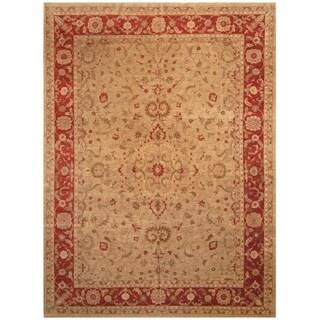 Handmade Vegetable Dye Oushak Wool Rug (Afghanistan) - 10' x 13'5