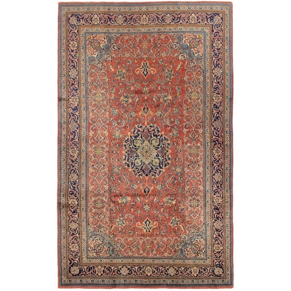 ECARPETGALLERY Hand-knotted Sarough Red Wool Rug - 4'3 x 7'2