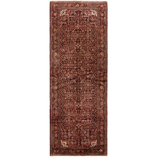 ECARPETGALLERY Hand-knotted Hamadan Red Wool Rug - 3'8 x 10'3