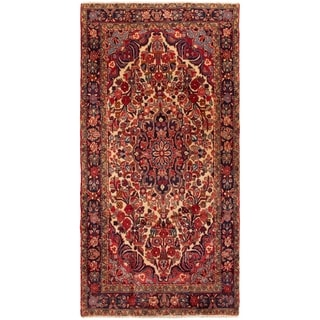 ECARPETGALLERY Hand-knotted Hamadan Red Wool Rug - 4'8 x 9'5