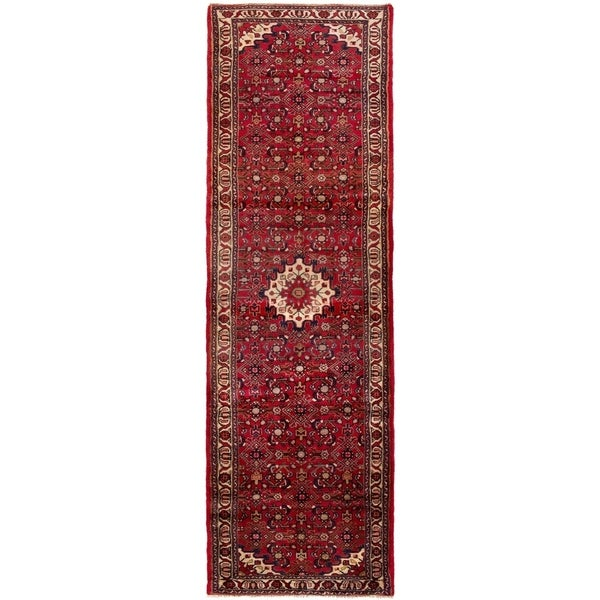 ECARPETGALLERY Hand-knotted Hamadan Red Wool Rug - 3'1 x 10'4