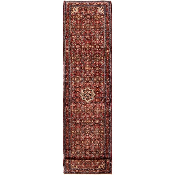 ECARPETGALLERY Hand-knotted Hamadan Red Wool Rug - 2'11 x 11'8