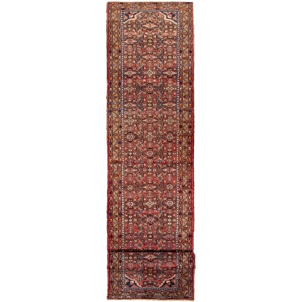 ECARPETGALLERY Hand-knotted Hamadan Red Wool Rug - 2'7 x 12'2