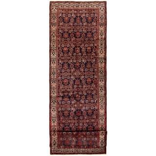 ECARPETGALLERY Hand-knotted Hamadan Dark Navy, Red Wool Rug - 3'5 x 13'3