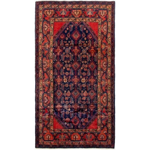 ECARPETGALLERY Hand-knotted Hamadan Dark Navy, Red Wool Rug - 4'4 x 8'1