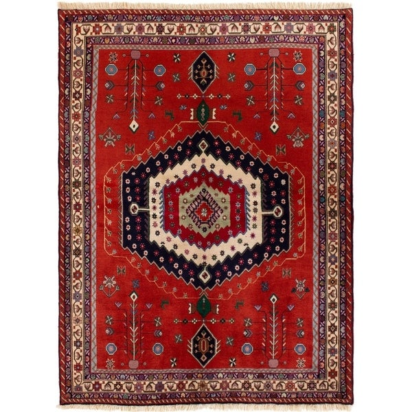 ECARPETGALLERY Hand-knotted Afshar Red Wool Rug - 5'2 x 7'0