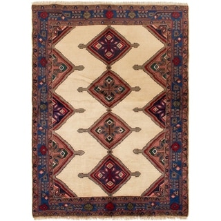 ECARPETGALLERY Hand-knotted Koliai Cream Wool Rug - 4'9 x 6'8