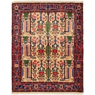 ECARPETGALLERY Hand-knotted Koliai Ivory, Red  Rug - 3'7 x 4'8
