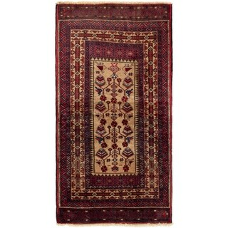 ECARPETGALLERY Hand-knotted Finest Baluch Red  Rug - 2'11 x 5'10