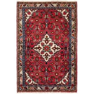 ECARPETGALLERY Hand-knotted Hamadan Red  Rug - 3'5 x 5'2