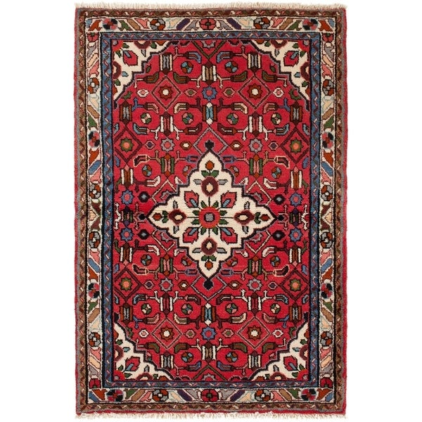 ECARPETGALLERY Hand-knotted Hamadan Red Rug - 3'5 x 5'2