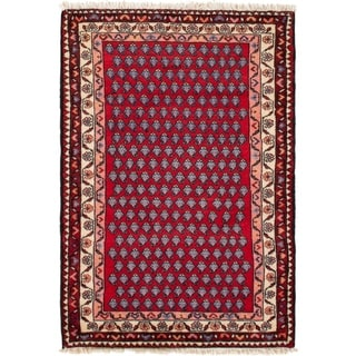ECARPETGALLERY Hand-knotted Hamadan Red  Rug - 2'8 x 3'10