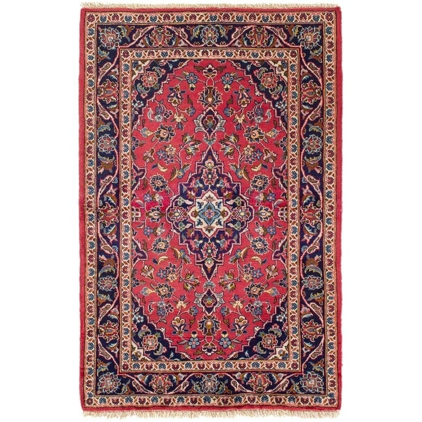 ECARPETGALLERY Hand-knotted Yazd Red Rug - 3'2 x 4'11
