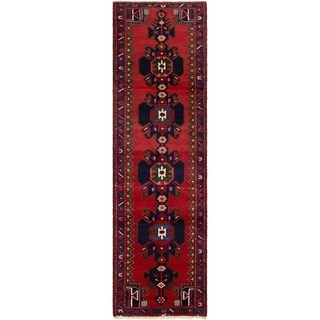 ECARPETGALLERY Hand-knotted Hamadan Red  Rug - 2'7 x 9'3