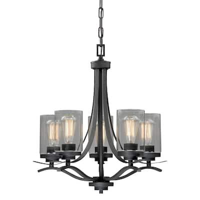 Fremont 5 Light Bronze Chandelier Clear Glass - 22-in W x 24-in H x 22-in D