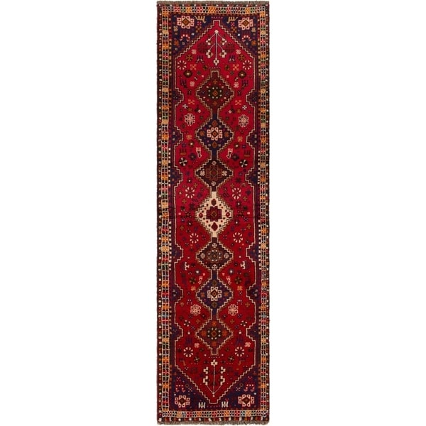 ECARPETGALLERY Hand-knotted Shiraz Red Rug - 2'6 x 9'5