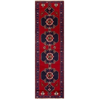 ECARPETGALLERY Hand-knotted Saveh Red  Rug - 2'6 x 9'0