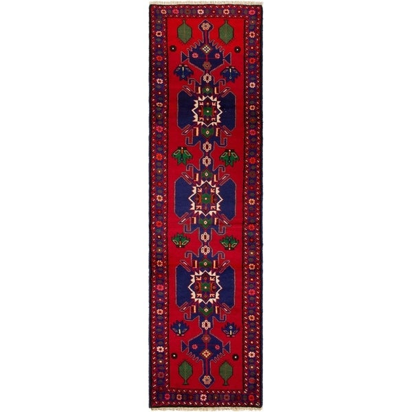 ECARPETGALLERY Hand-knotted Saveh Red Rug - 2'6 x 9'7
