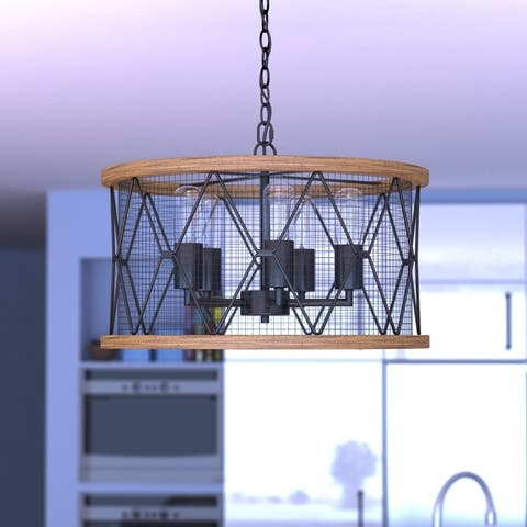 Bremerton 5 Light Bronze and Wood Cage Drum Chandelier - 20-in W x 11.5-in H x 20-in D