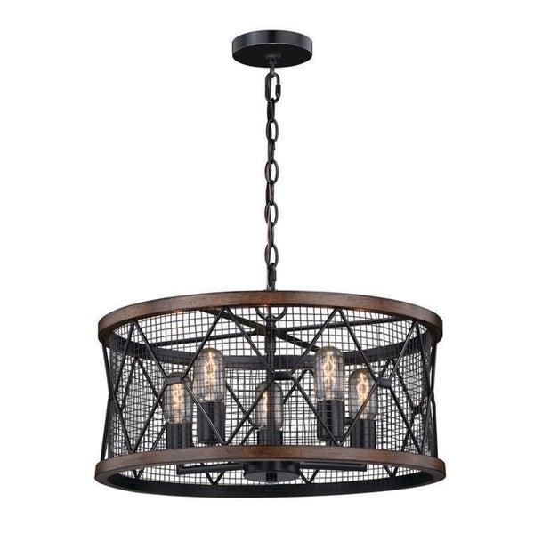 ProLine by Vaxcel Bremerton Industrial 5 Light Bronze Wire Cage Drum  Chandelier