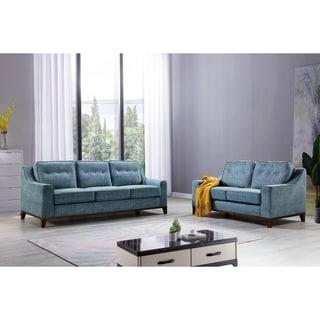 Mid Century Blue Fabric Upholstered Tufted Sofa