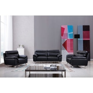 Leather Upholstered Pillow Top Sofa