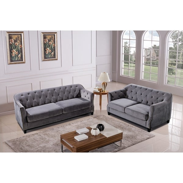 Shop Grey Velvet Tufted Modern Sofa