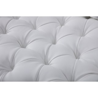 Tufted White Bonded Leather Loveseat