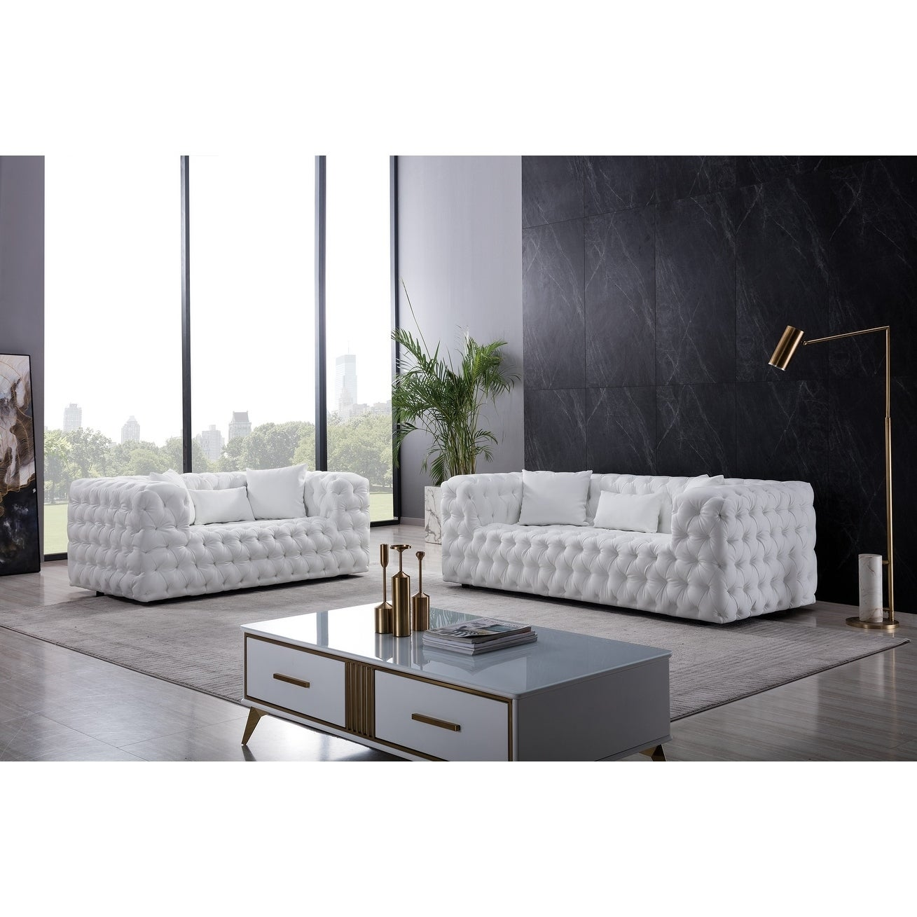 Tufted White Bonded Leather Sofa