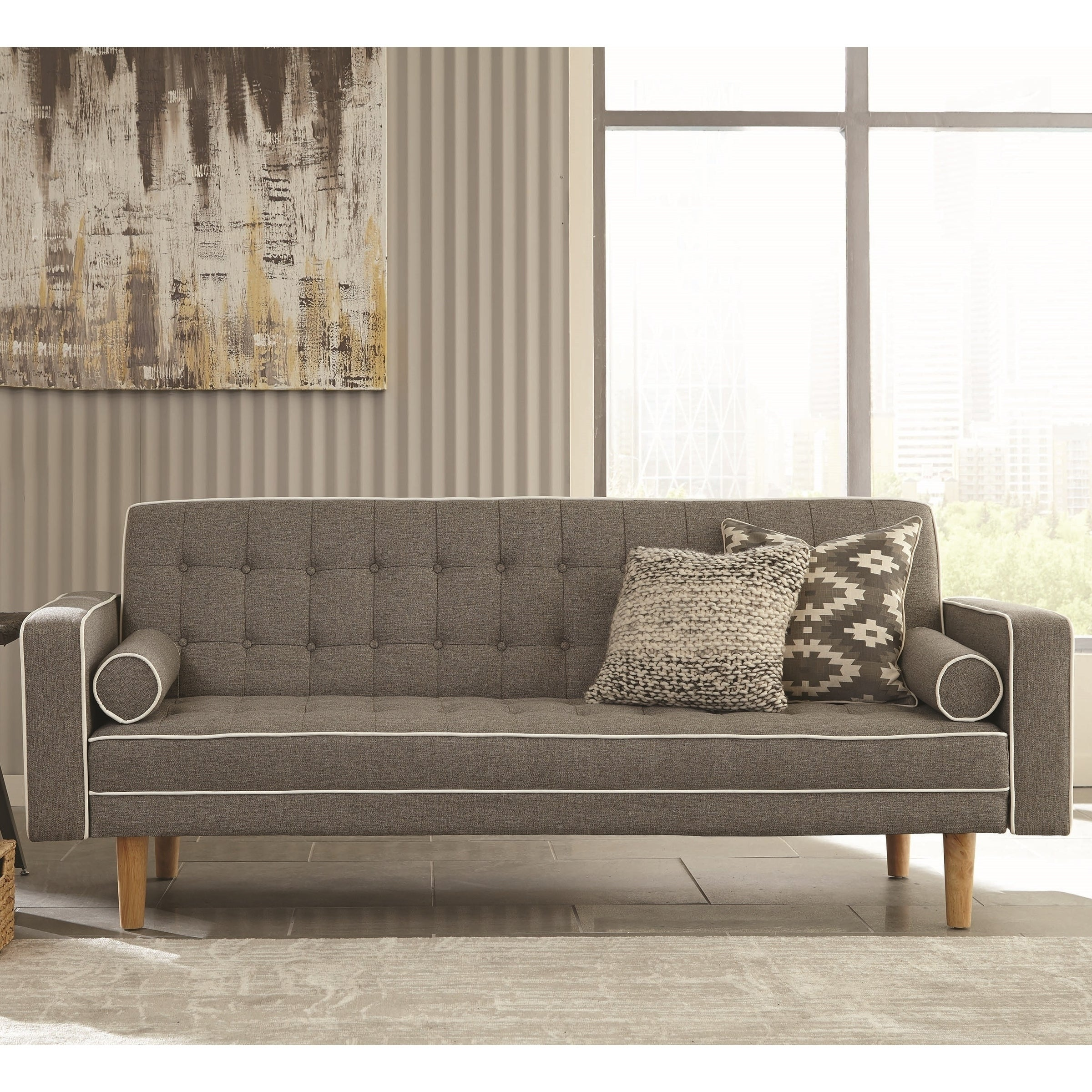 Modern Design Grey Button Tufted Sofa Bed Sleeper with White Piping