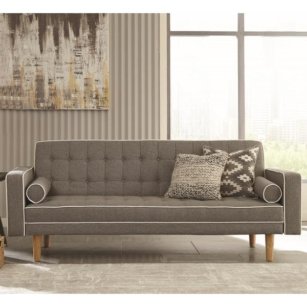 Shop Modern Design Grey Button Tufted Sofa Bed Sleeper