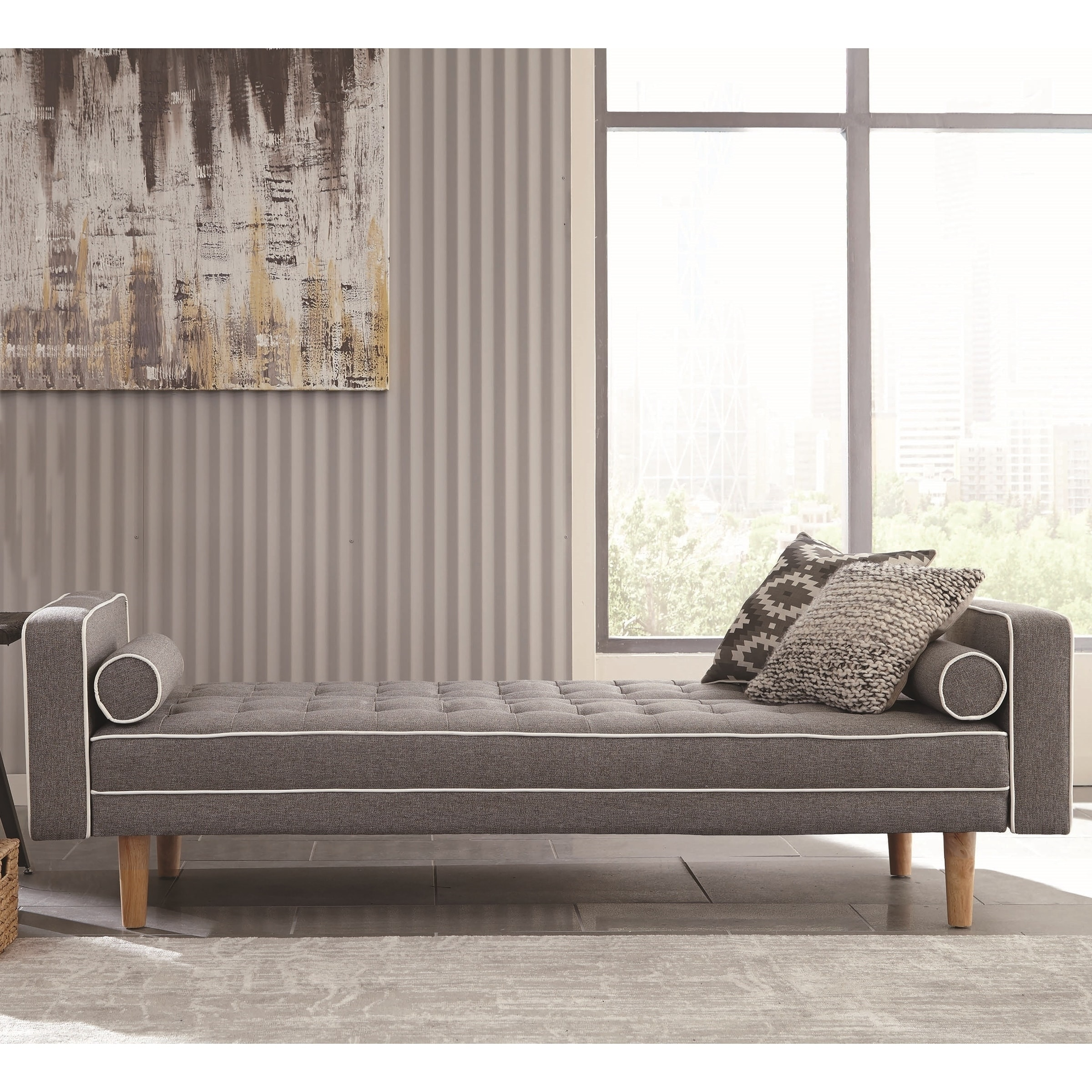 Awe Inspiring Modern Design Grey Button Tufted Sofa Bed Sleeper With White Piping Machost Co Dining Chair Design Ideas Machostcouk
