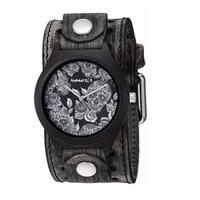 VSTH263K Nemesis 'Jayden' Dark Sugar skull Wood case watch with vintage leather cuff band