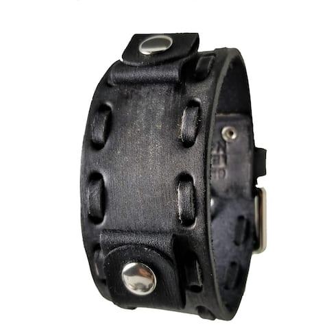 VWTK-K Nemesis Weaved Black Leather Watch Cuff Band 20-22mm
