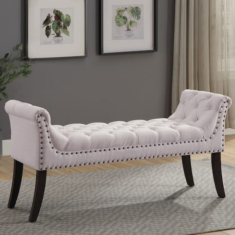 Copper Grove Krasnop Tufted Upholstered Bench with Gently Angled Arms and Curved Wood Legs