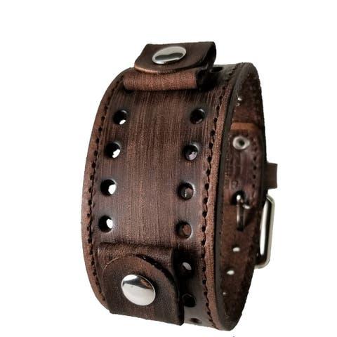 VSTH-B Nemesis Faded Brown Leather Stitch Watch Cuff Band 20-22mm