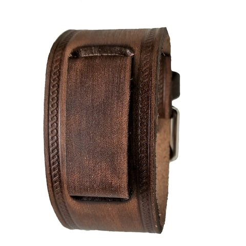 VHST-B Nemesis Faded Embossed Brown Leather Watch Cuff Band 20-22mm